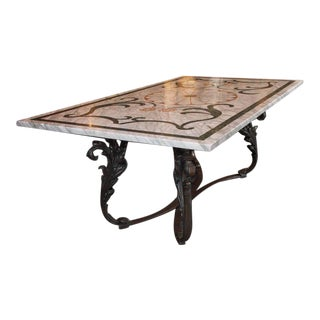 Antique Italian Mosaic Marble Table on French Iron Base