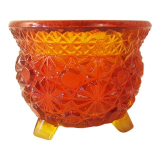 Amberina Cut Glass Toothpick Holder Button And Daisy