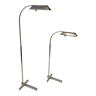 Pair of Nickel Adjustable Floor Lamps by Casella