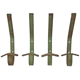 Vintage French Iron Coat Hooks - Set of 4