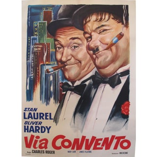 "1950s Original Italian Laurel & Hardy ""Via Convento"" Movie Poster"