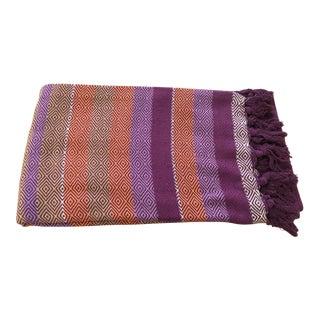 Purple Striped Cotton Throw