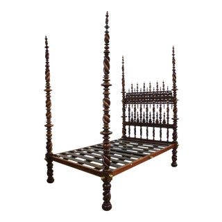 17th Century Portuguese Carved and Turned Bed