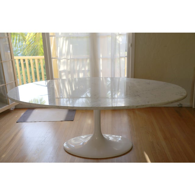 Image of Saarinen Style Oval Marble Dining Table