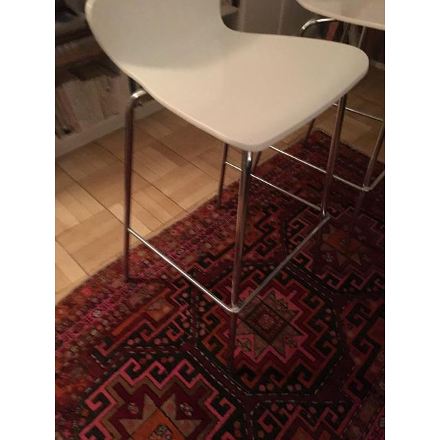 Crate & Barrel White & Chrome Bar Stools - A Pair - Image 6 of 7