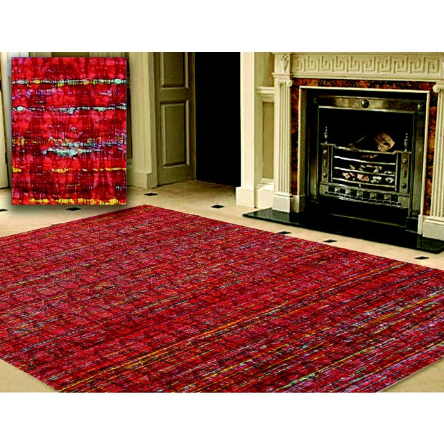 Pasargad Modern Collection Red Silk Rug - 6' x 9' - Image 3 of 3
