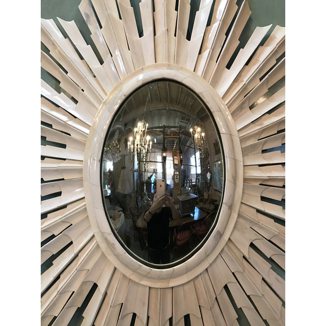 Italian Bone Sunburst Mirror with Convex Glass - Image 4 of 5
