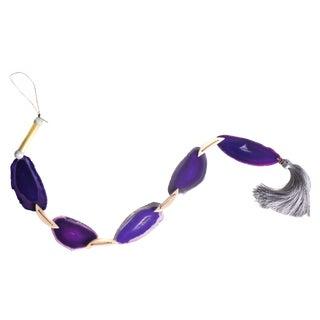 Modern Boho Purple Agate Tassel Garland