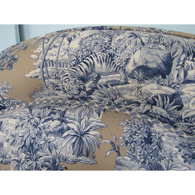 Blue Indian Safari Print Upholstered King Headboard - Image 4 of 5