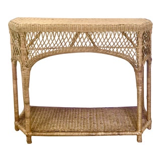 Vintage Wicker Rattan Console Table