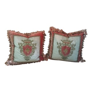 Silk & Velvet Embroidery Crest Pillows - Pair