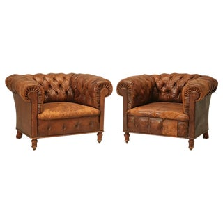 Classic Pair of All-Original Chesterfield Leather Chairs, circa 1900