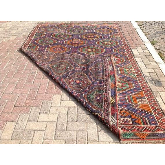 Vintage Turkish Kilim Rug - 6′6″ × 10′2″