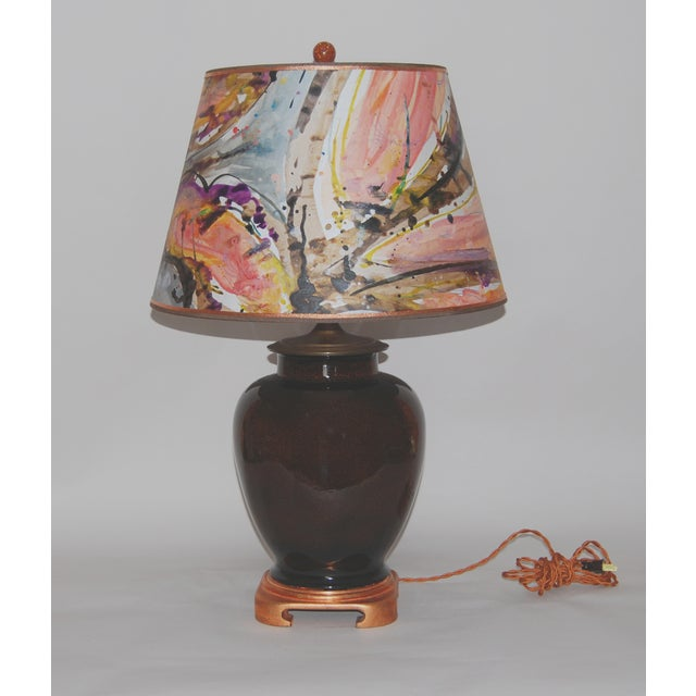 Tortoise Glaze Lamp W/Hand Painted Lampshade - Image 2 of 5