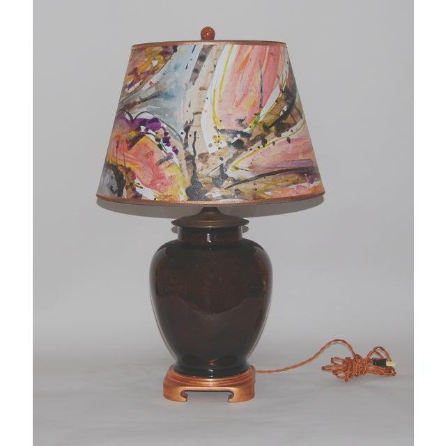 Image of Tortoise Glaze Lamp W/Hand Painted Lampshade