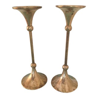 Brass Trumpet Candle Holders