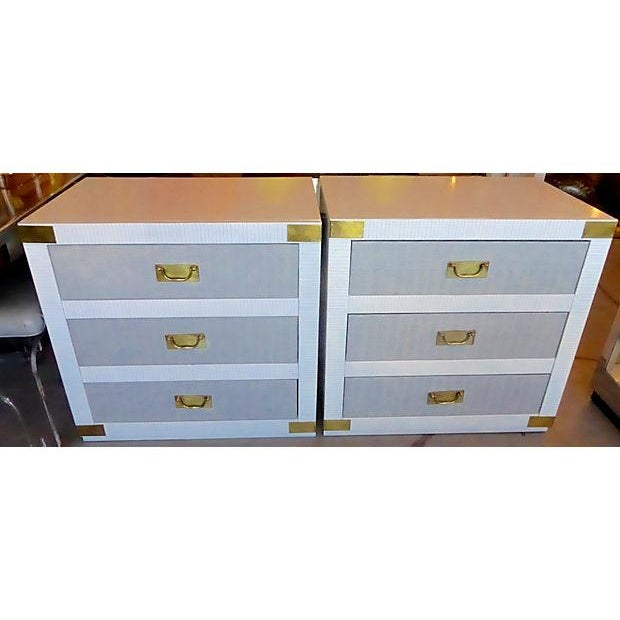 Image of Gray & White Nightstand Chests - A Pair
