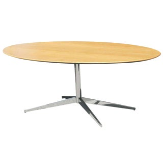 Florence Knoll Oak and Re-Chromed Bronze Base Dining Table / Desk