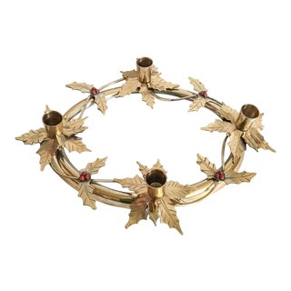 Brass Holly Berry Wreath Candle Centerpiece