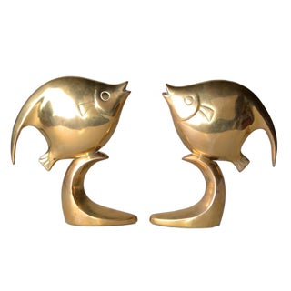 Polished Solid Brass Fish Bookends - A Pair
