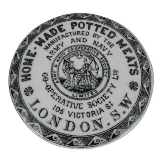 English Staffordshire Transfer Printed Army-Navy Potted Meat Pot