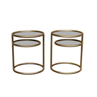 Hollywood Regency Brass 2-Tier Tables - A Pair