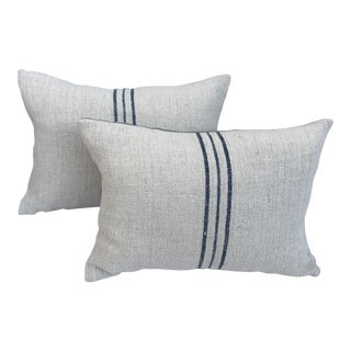 Blue Striped English Grain-Sack Pillows - A Pair
