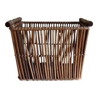 Vintage Bamboo Wood Woven Basket