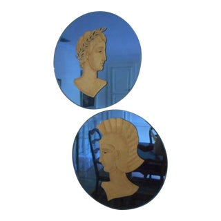 Art Deco Blue Round Mirrors - A Pair