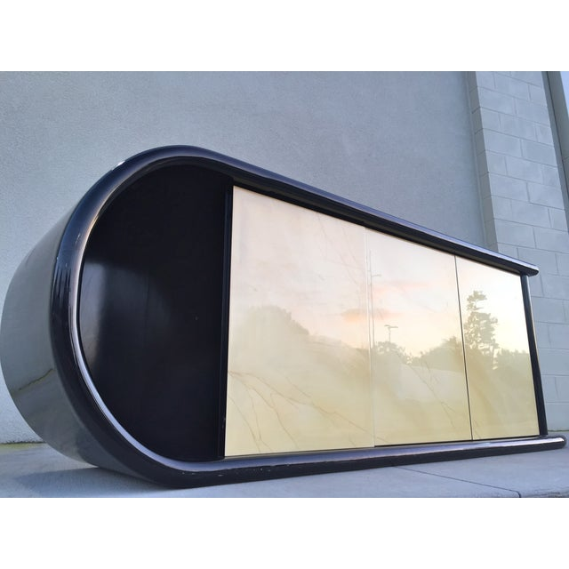 Curved Black Lacquer Credenza - Image 5 of 11