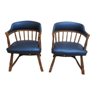 Pair of Vintage Romweber Navy Blue Upholstered Lounge Chairs