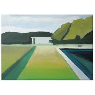 """Abstract Landscape Poolside Painting - 30"""" x 40"""""""