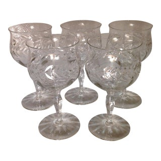 Antique Cut Crystal Wine Goblets - Set of 5