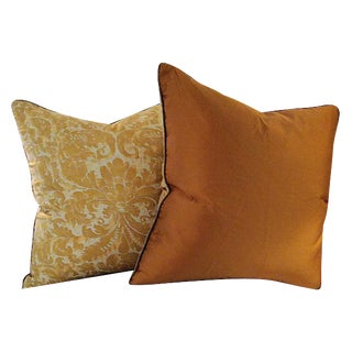 Vintage Mariano Fortuny Fabric Pillows - A Pair