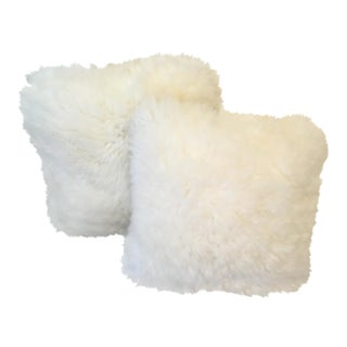 Vintage Ivory Sheepskin Pillows - a Pair