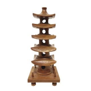 Vintage Hand Carved Wood Pagoda