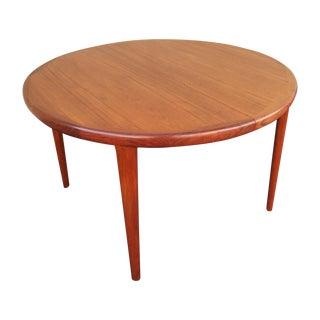 Danish Modern Teak Expandable Round Dining Table