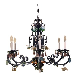 19th Century French Wrought Iron 6-Arm Chandelier