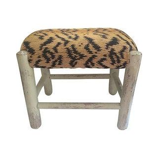 Whitewashed Tiger-Print Stool