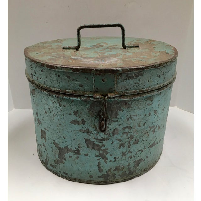 Vintage Painted Metal Oval Hat Box - Image 2 of 8