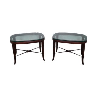Oval Glass Top X Stretcher Base Side Tables - A Pair