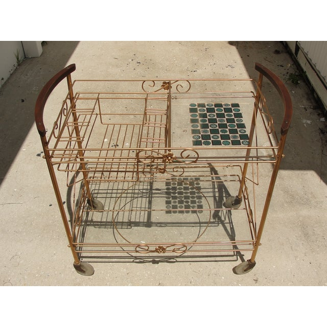 1950s Atomic-Style Rolling Bar Cart - Image 2 of 10