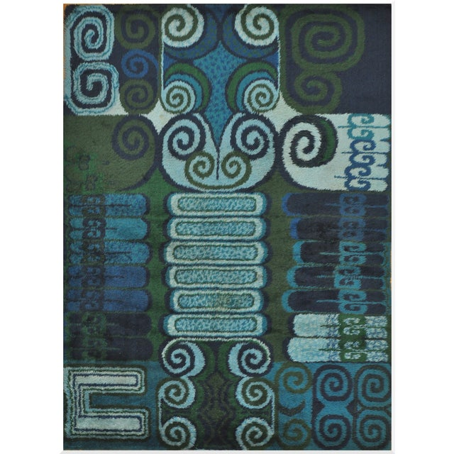 Room Size Vintage Scandinavian Rug - 7′10″ × 11′4″ - Image 1 of 4