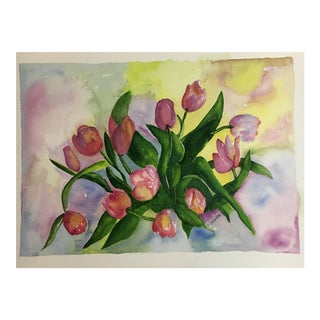 Original Tulips Watercolor Painting