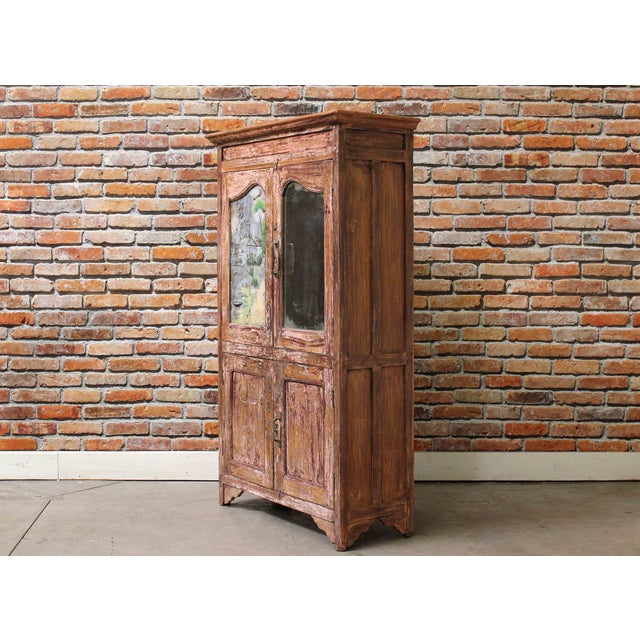 Image of Vintage Pink Armoire with Handpainted Glass Panel