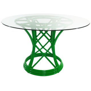 Ficks Reed Flamingo Green Rattan Dining Table