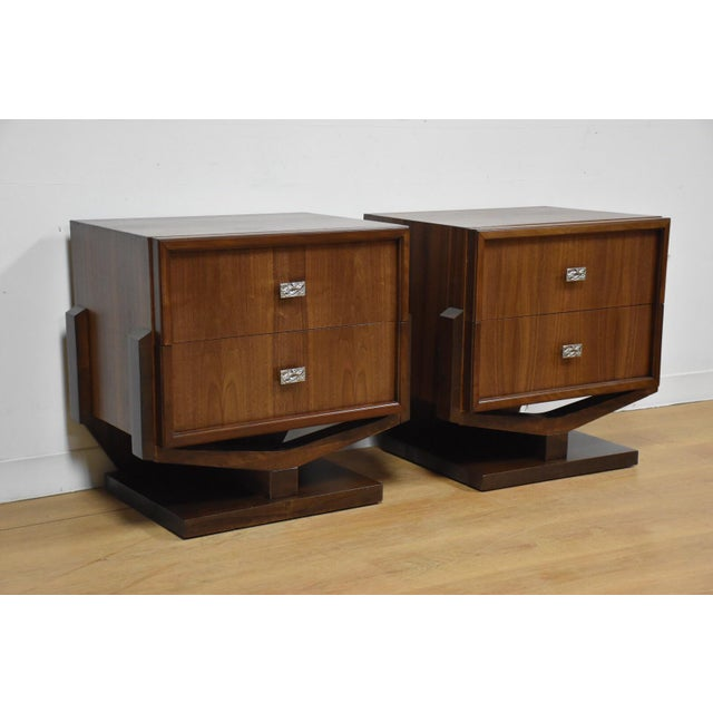 Mid-Century Brutalist Walnut Nightstands - A Pair - Image 2 of 11