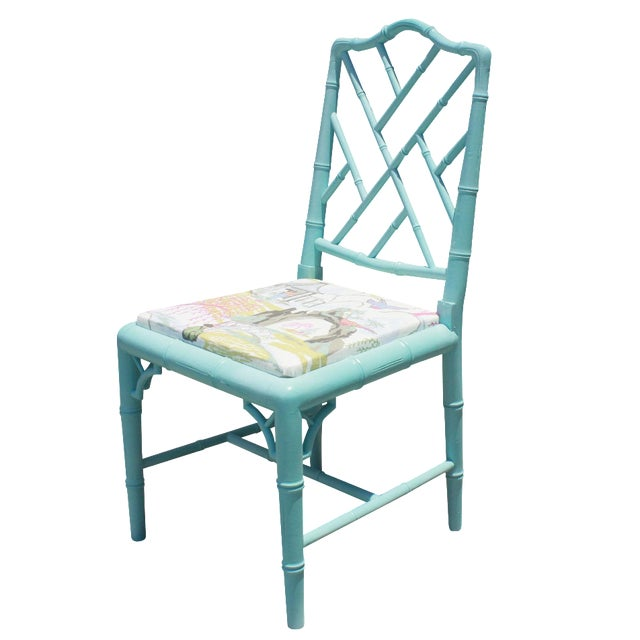 Vintage Faux Bamboo Chinese Chippendale Chair - Image 1 of 7