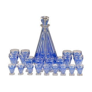 Art Deco Cobalt Enamel Decanter Set - 22 Pcs