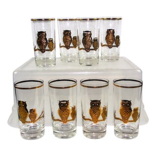 Culver Vintage 22k Gold 8 Owl Hi Ball Glasses